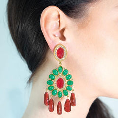 Adriana Lima in the Ruby And Emerald Drop Clip Earrings