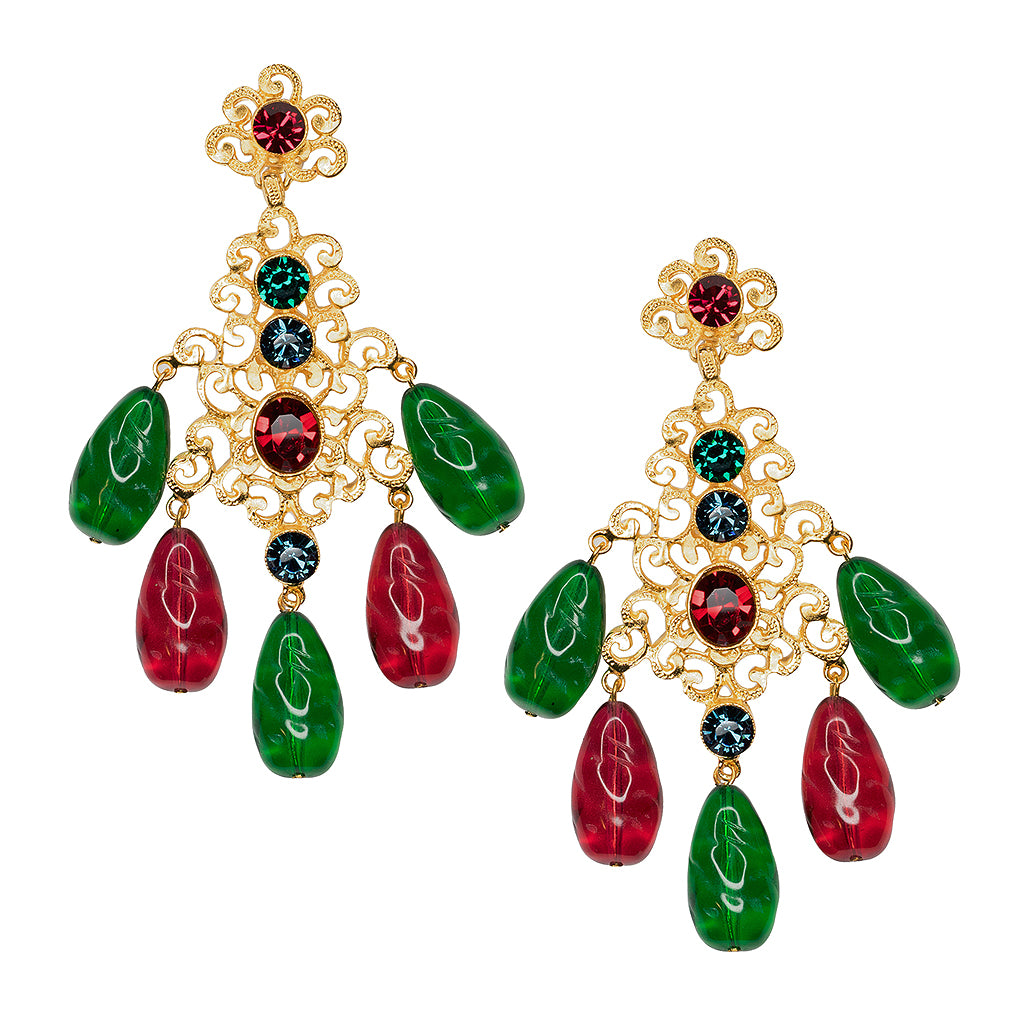 Kenneth Jay Lane Multi-Color Filigree Drop Clip Earring Multi-color 0WL9I