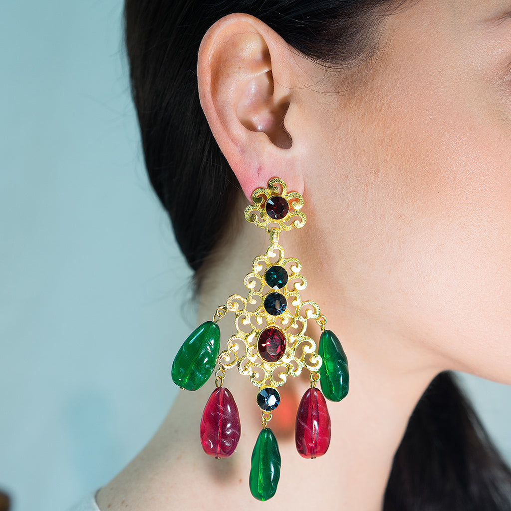 Multi-color Filigree Drop Clip Earring