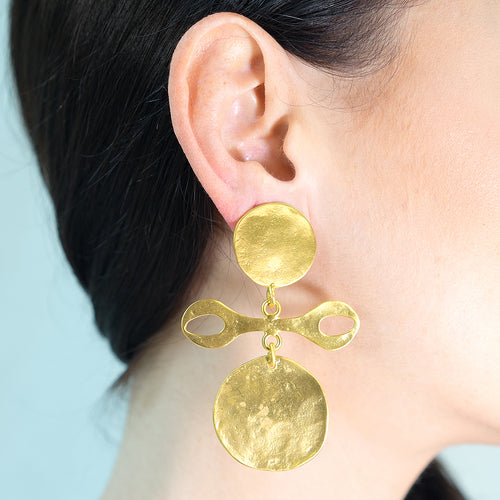 Satin Gold Tribal Clip Earrings