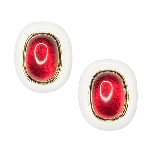 Vogue/November 2017 - White And Ruby Clip Earrings
