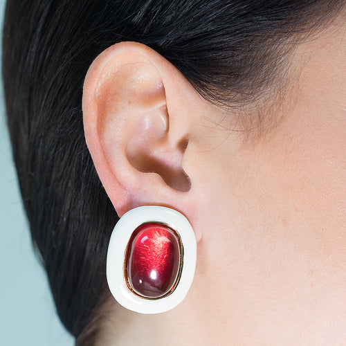 White And Ruby Clip Earrings
