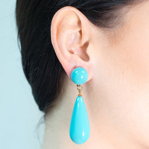 Turquoise Teardrop Pierced or Clip Earrings