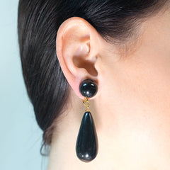 Black Teardrop Pierced or Clip Earrings