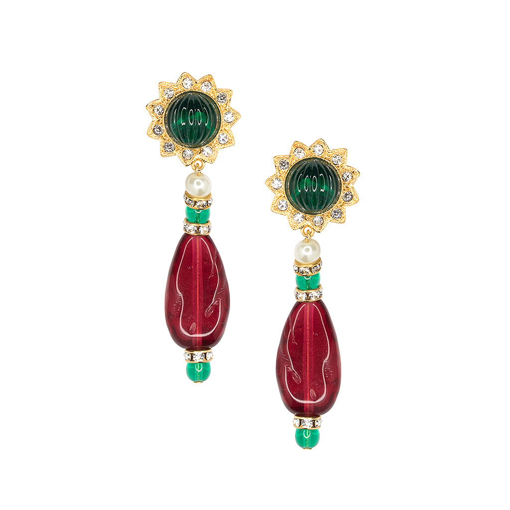 Kenneth Jay Lane Emerald And Ruby Clip Earring Gold/emerald k36N1MAZW7