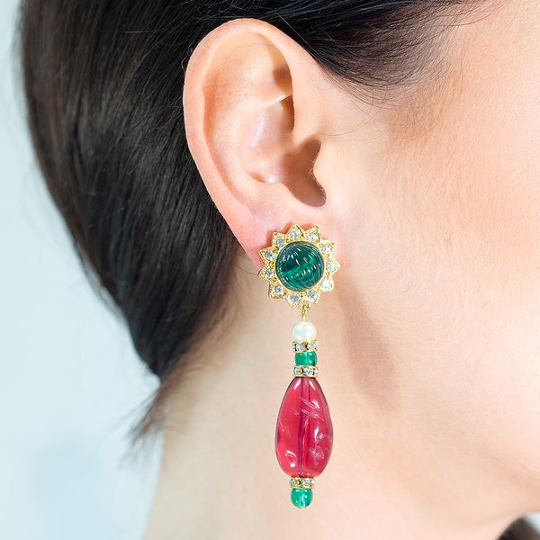 Emerald And Ruby Clip Earrings