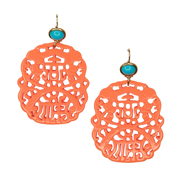 Carved Coral Pierced Earrings