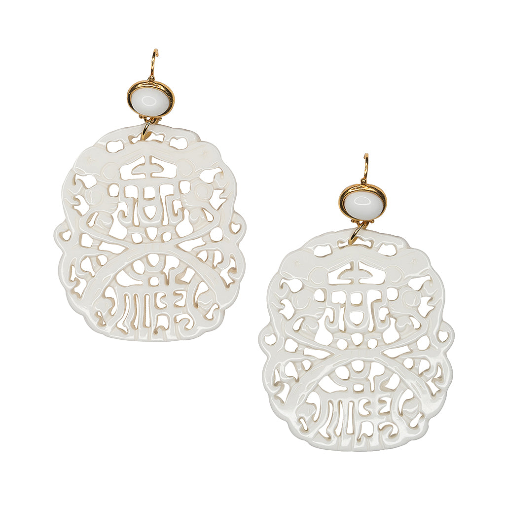 Carved White Earring