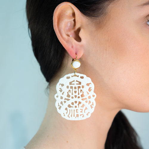 Carved White Pierced Earrings
