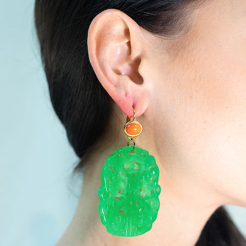 Carved Jade Earring