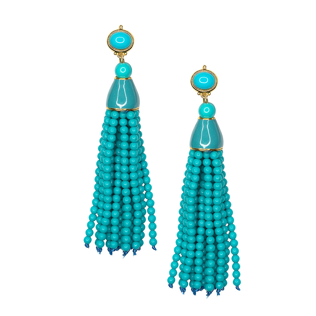 Turquoise Seed Bead Tassel Pierced or Clip Earring