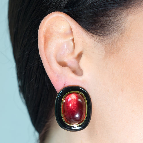 Black And Ruby Clip Earrings
