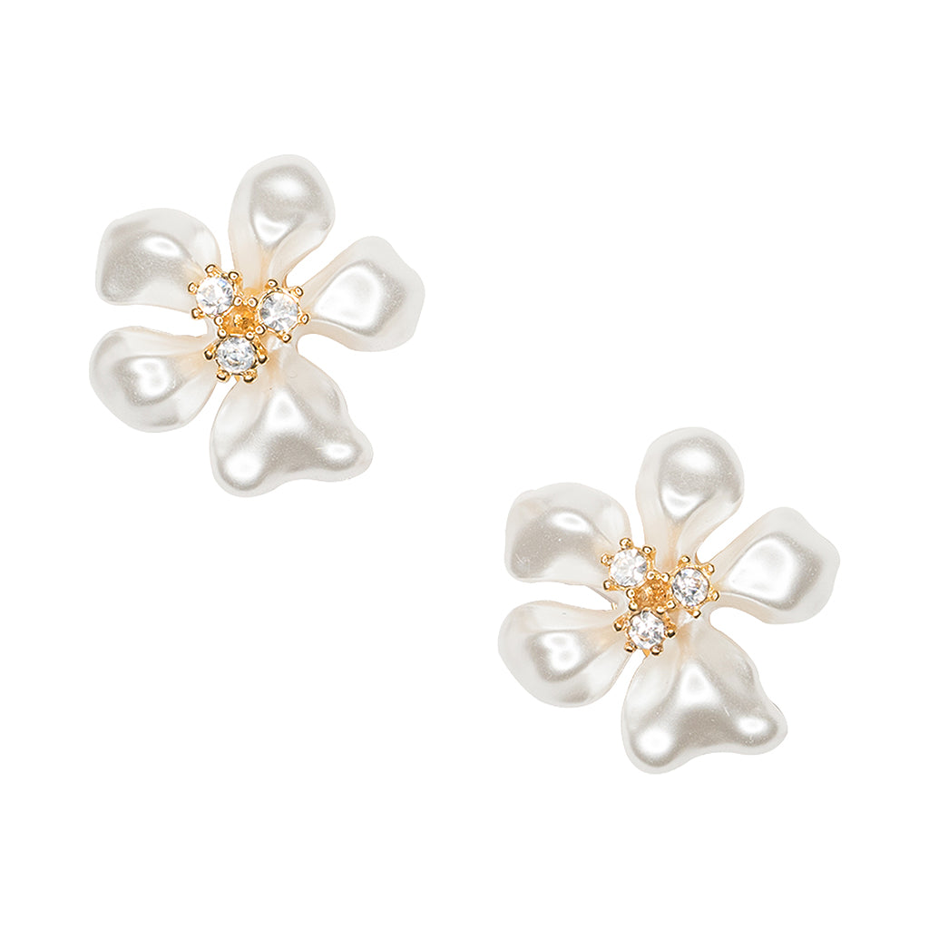 White Pearl Flower Clip Earrings Kennethjaylane