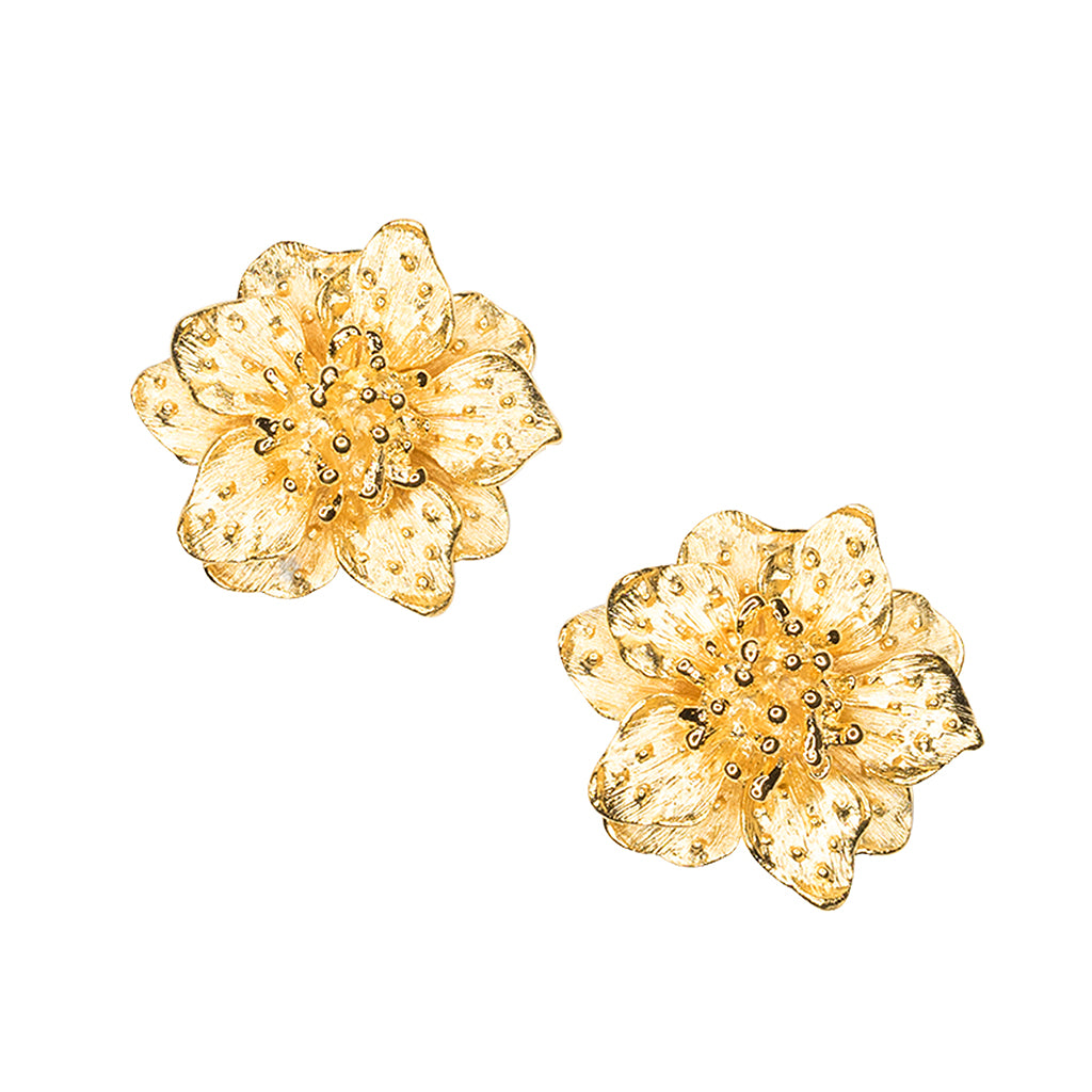 Satin Gold Dogwood Flower Clip Earrings