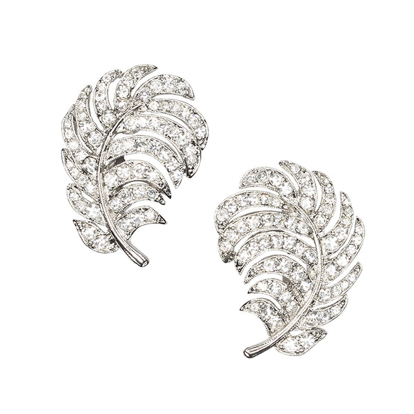 Modern Luxury Weddings/Bridal Fashion Feature - Crystal Feather Clip Earrings