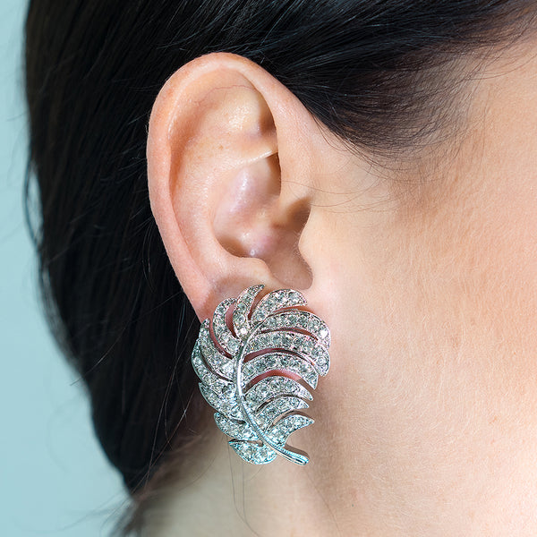 Crystal Feather Clip Earrings