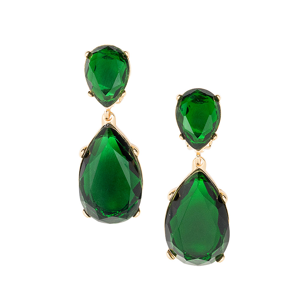 Emerald and Gold Teardrop Pierced or Clip Earrings