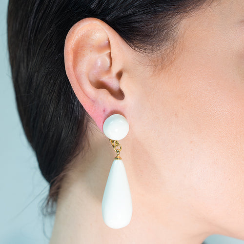 White Teardrop Pierced or Clip Earrings