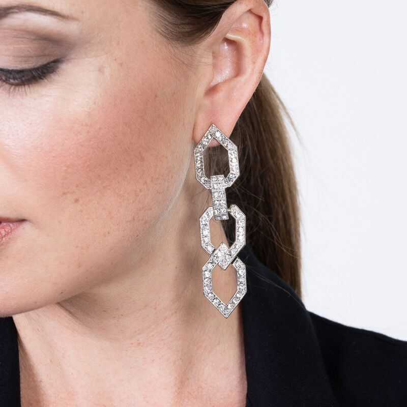 Crystal Open Link Pierced Earrings