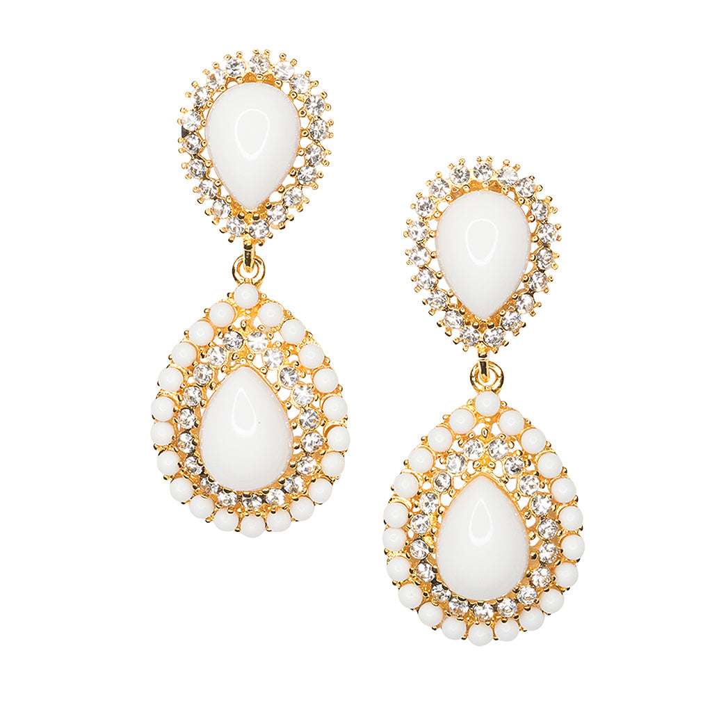 happiness crystal en boutique earrings tassel white