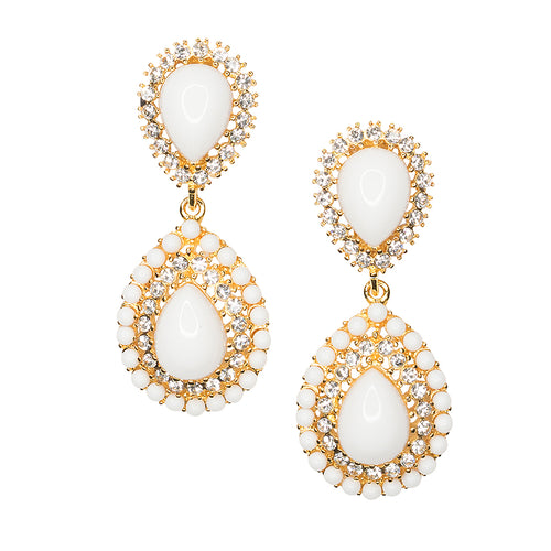 White & Crystal Teardrop Clip Earrings