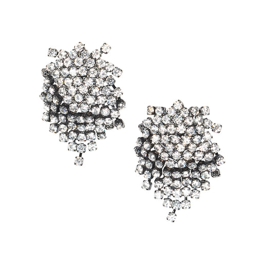 Gunmetal And Crystal Pierced or Clip Earrings