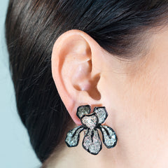 Crystal Flower Clip Earrings