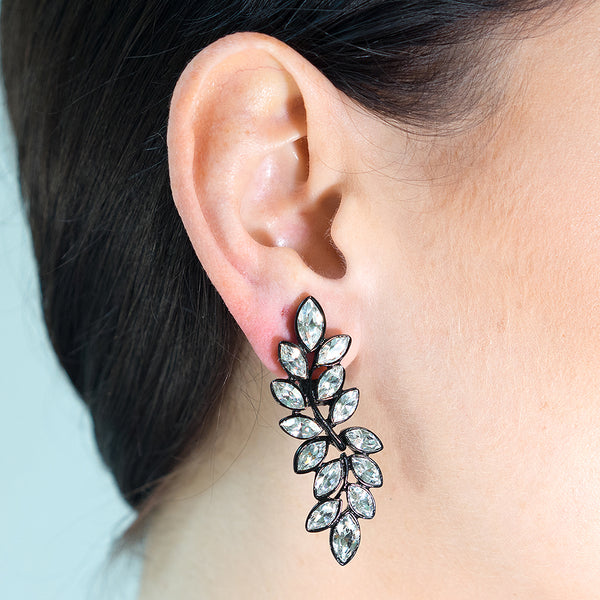 Crystal Leaf Drop Pierced or Clip Earrings