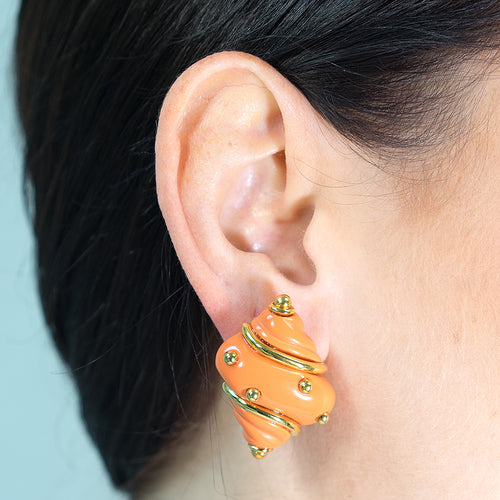 Coral Seashell Clip Earrings