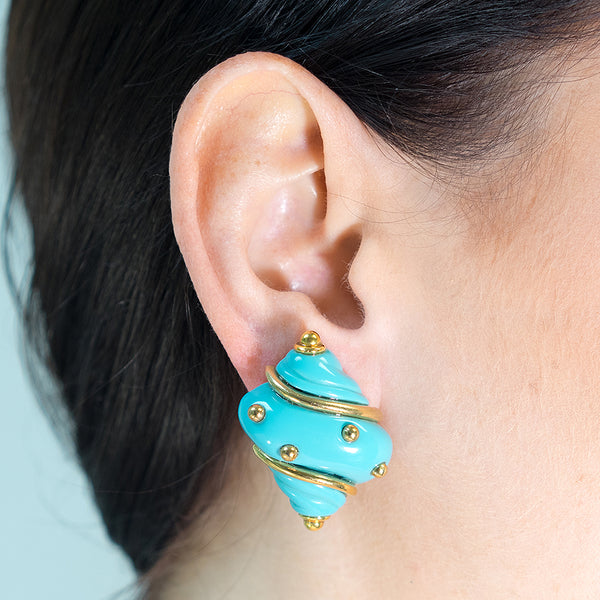 Turquoise Seashell Clip Earrings