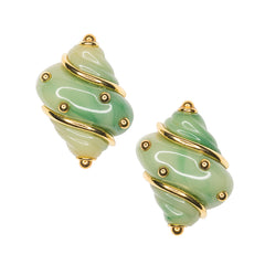 Jade Seashell Clip Earrings