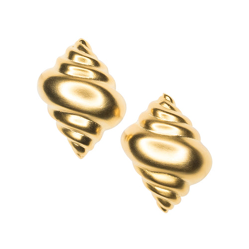 Satin Gold Seashell Clip Earrings