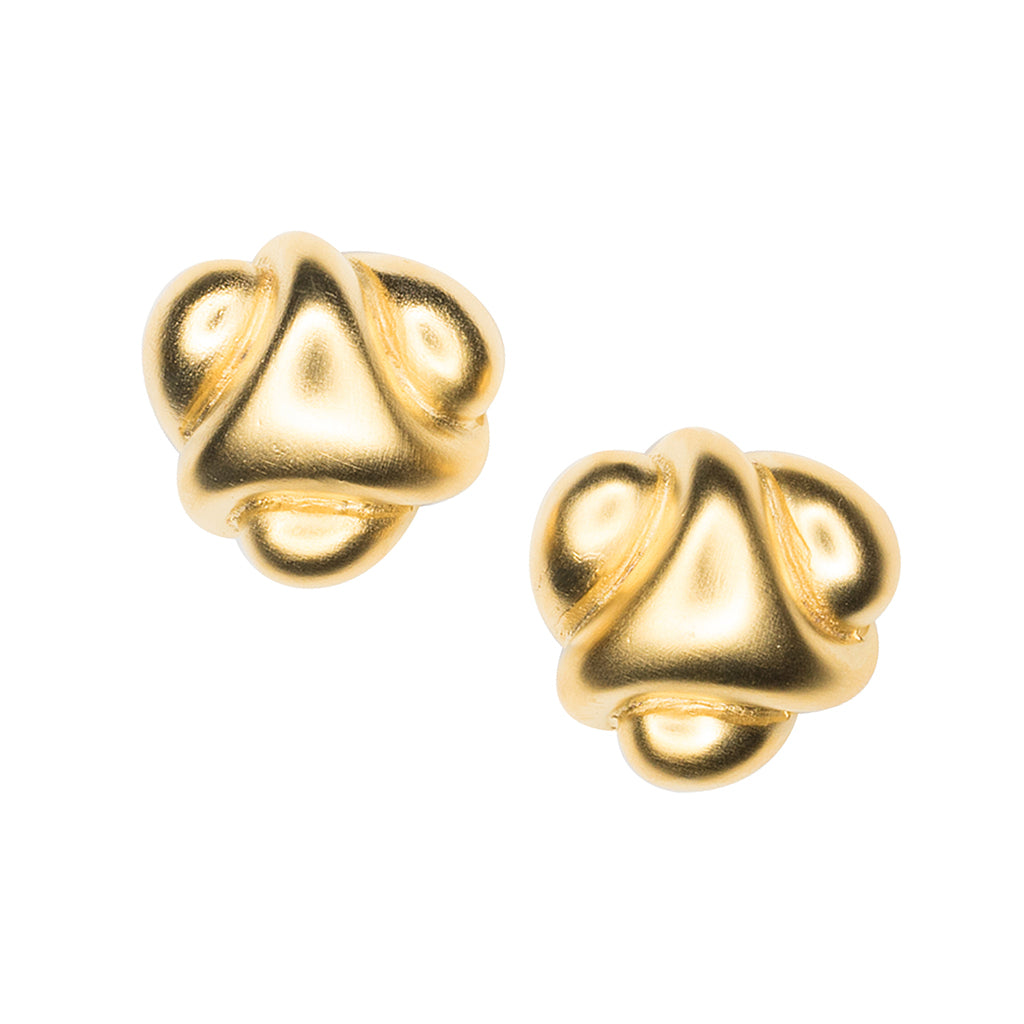 Satin Gold Abstract Button Clip Earring