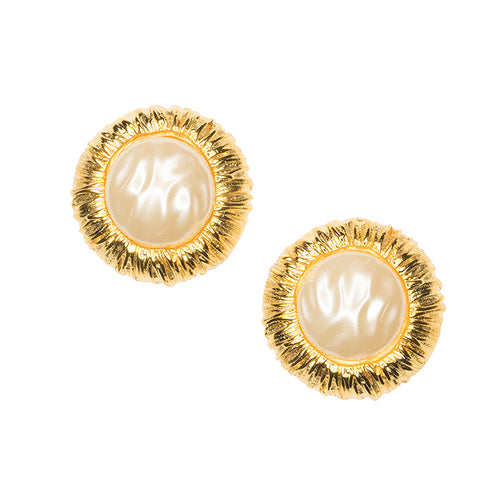 Pearl Button Clip Earrings