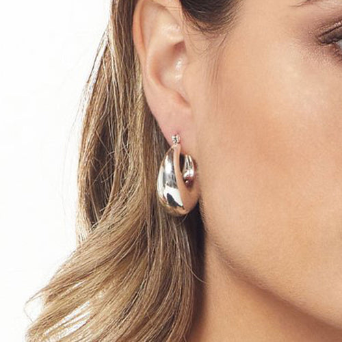 Polished Silver Drop Earring