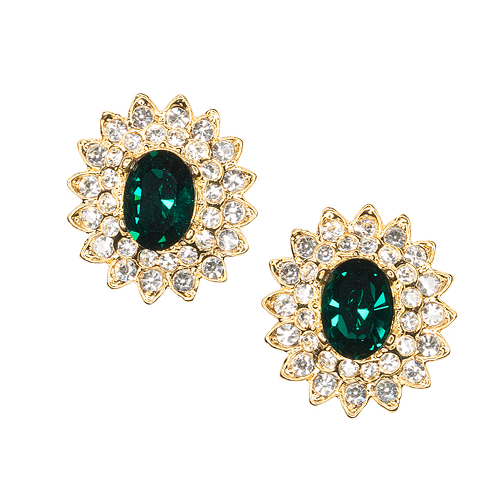 Gold And Crystal Setting Emerald Stone Center Clip Earring