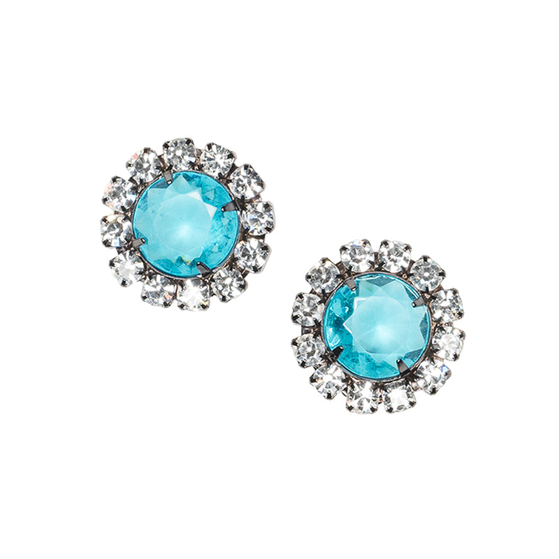 Aqua Button Clip Earrings