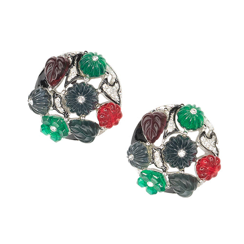 Tutti Frutti Art Deco Clip Earrings