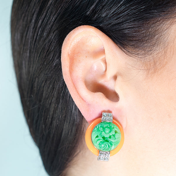 Coral And Jade Art Deco Clip Earrings