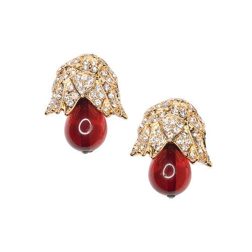 Ruby Bud Drop Clip Earrings