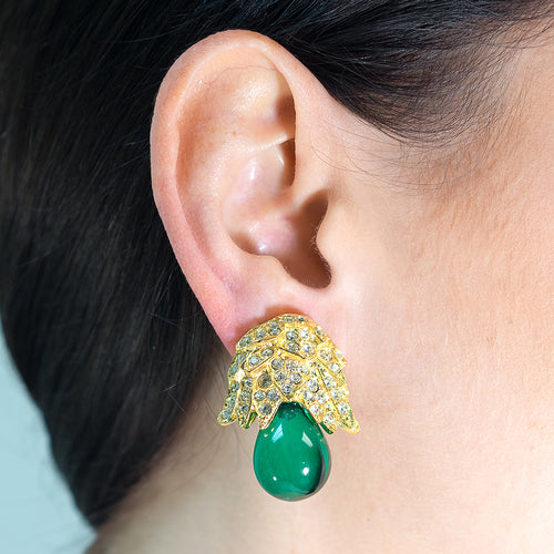 Emerald Bud Drop Clip Earrings