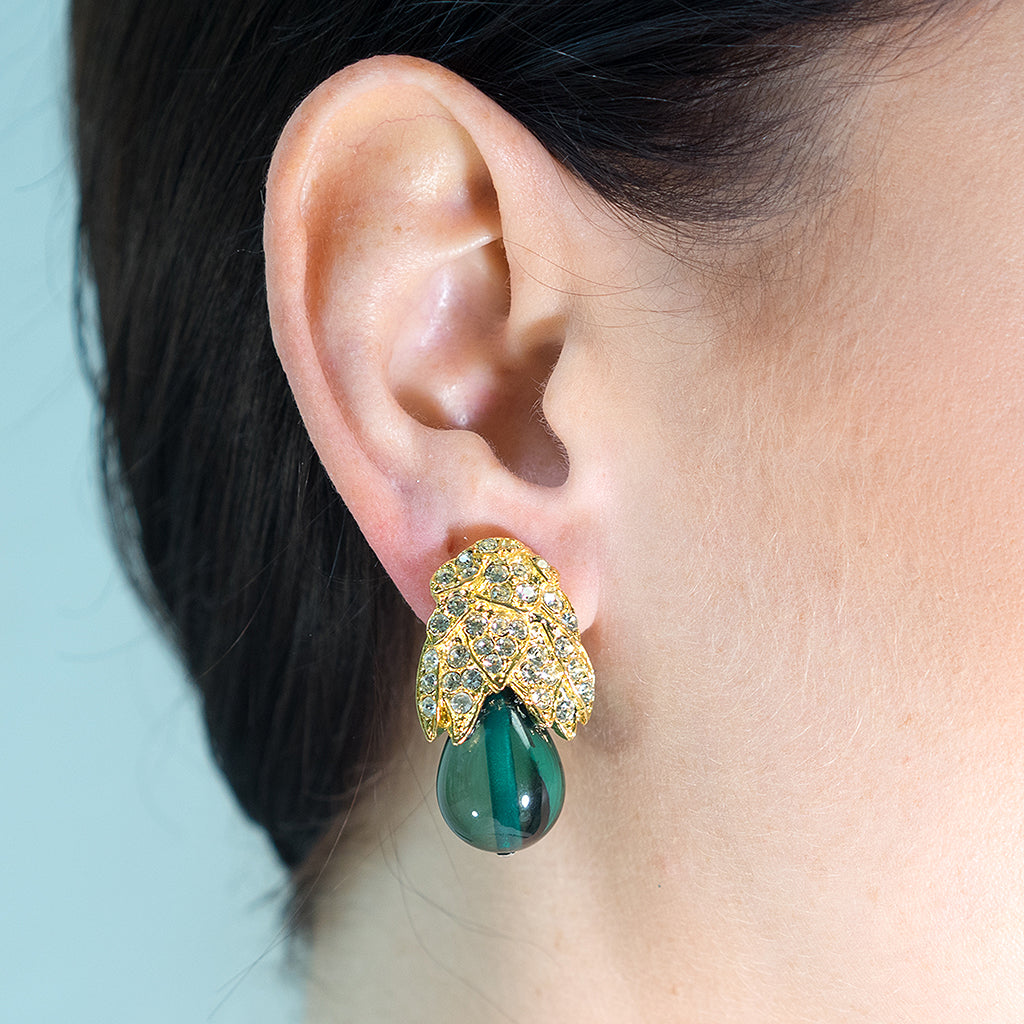 Emerald Drop Clip Earrings