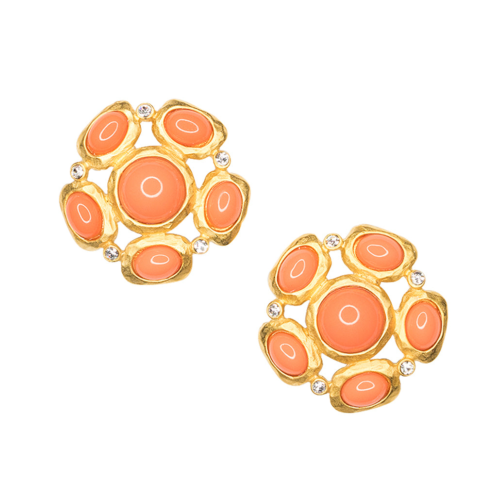 Coral Cabochon Pierced or Clip Earrings