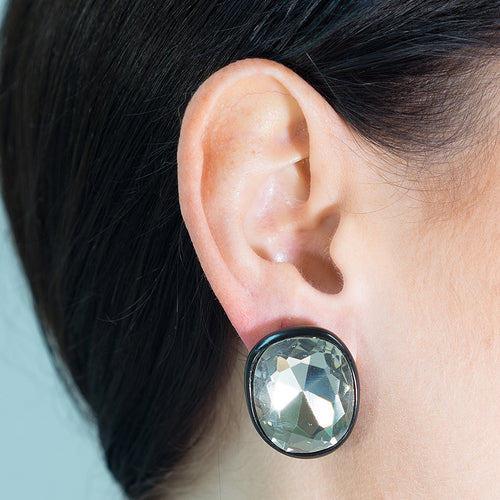 Jackie Kennedy Black Plated Crystal Clip Earrings