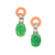 Coral and Jade Art Deco Pierced or Clip Earrings