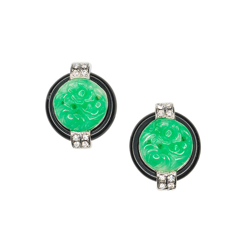 Black And Jade Art Deco Clip Earrings