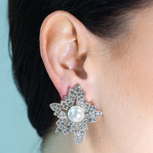 White Pearl Flower Clip Earrings