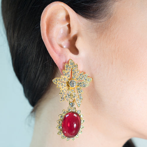 Ruby Drop Clip Earrings