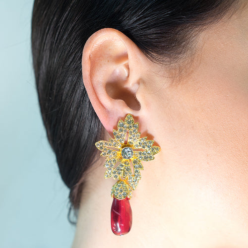 Flower Top Teardrop Ruby Clip Earrings