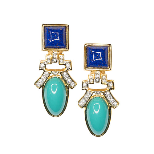 Lapis And Turquoise Drop Clip Earrings